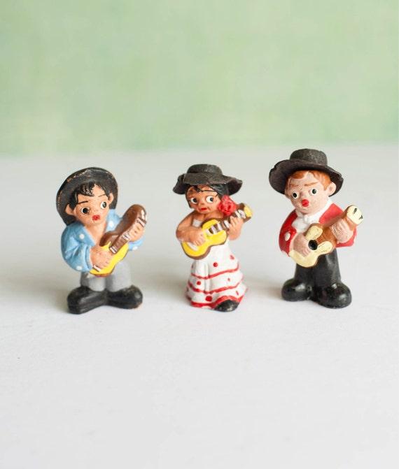 Spanish Terracotta Figurines Musicians Vintage  Folk Art