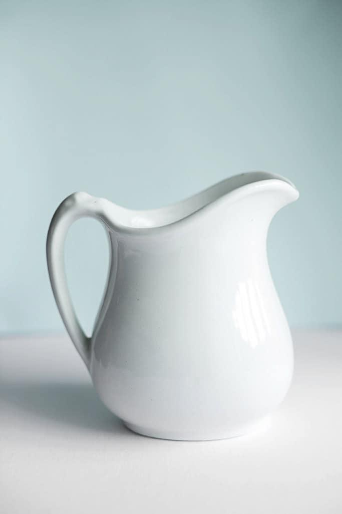 White Ceramic Pitcher Small Shabby Chic Cottage Decor