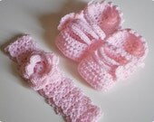 Pink or White Mary Jane Baby Slippers Head Band Set