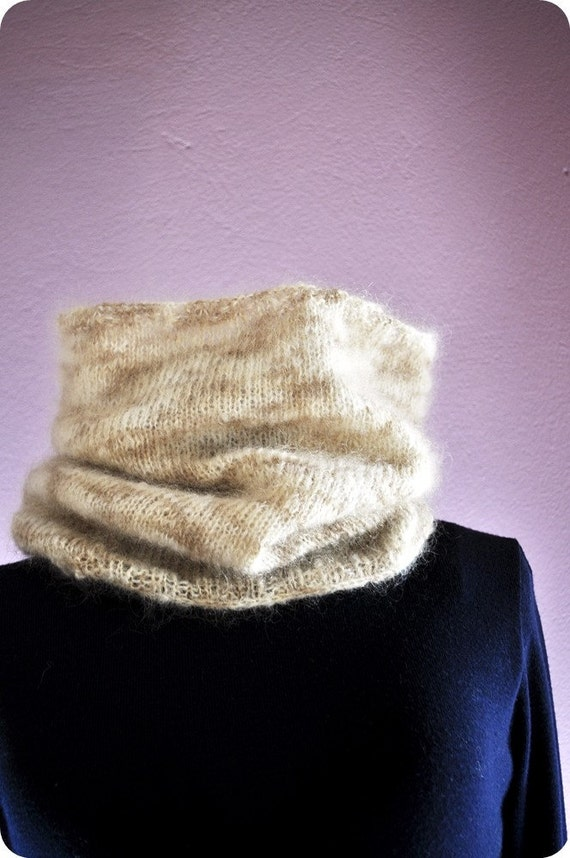 Knit Cowl Silky Soft Cream Light Brown Mohair (Made to order)