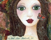 What Lies Within, ACEO, Mini Art Print, Collectible Art, Soulful Art, Strong Girl, Gift Card, Trading Card, Mixed Media Art Print, Art Card