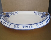 Ceramic Serving Dish - Handmade in 1965 by Grandma - Cobalt and White Daily Bread
