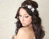 Woodland Flower Crown, Fairy Wedding, White Tiara, wedding accessory, bridal headpiece, flower girl - MARYL -