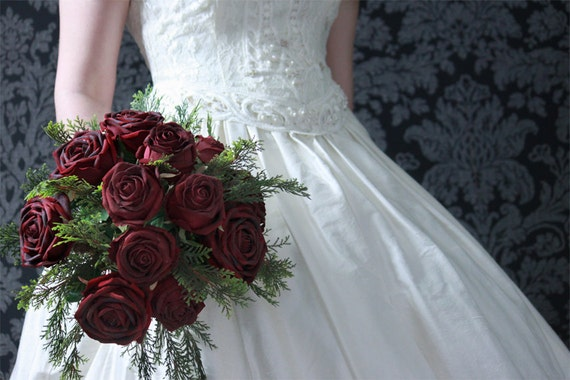 Wedding Flowers - Bridal Bouquet of Red Silk Velvet  Bordeaux  Roses and Cyprus - Wedding Bouquets