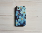 SALE 50% OFF - iPhone 4 case hard, iPhone 4s case, Marianne LoMonaco iPhone case Forget Me Not, Blue Flower iPhone Case, girl iphone 4 case