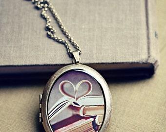 Clearance SALE 50% OFF Vintage Book Love, Large Photo Locket: Wearable Art Locket Necklace, Heart Books, Marianne LoMonaco Sweet