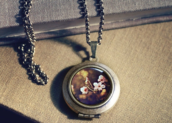 Photo Locket: Japanese Anemones, Wearable Art Locket Necklace, Marianne LoMonaco