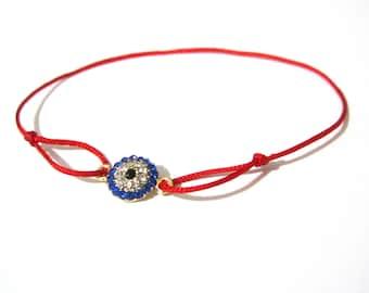 Chinese silk cord bracelet with rhinestone evil eye, friendship bracelet, charm bracelet