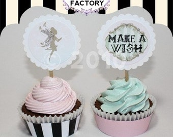 Digital - Printable - Downloadable  Birthday Cupcake Toppers - Make a Wish - Fairy