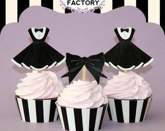 Little Black Dress Cupcake Toppers