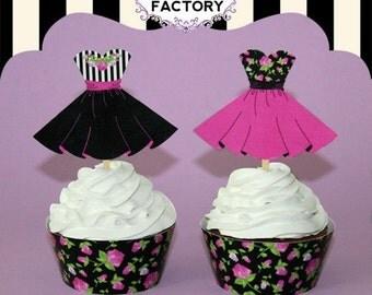 Black & Hot Pink Party Dress ~ Rose Print