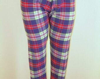 Plaid Leggings with free headband Size 6-8 available in any size or length, retro 50s rockabilly women capri