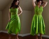 Vintage Dress   Bright Lime   Green Chartreuse   70s 1970s   Tinkerbell   Halter Crochet Top   Handkerchief Hem   Spring Summer Dress Medium