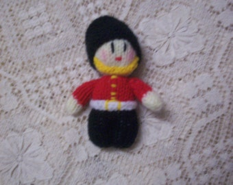 Handmade in Australia Knitted Queen's Guard Soldier Soft Miniature Toy