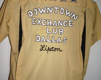 Bowling Shirt Downtown Exchange Club Dallas Personalized Al Lipton Vintage 60's Imperial Costumes Large Rockabilly