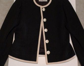Yves Saint Laurent Jacket Vintage YSL Day Suit Cropped Jacket 1980s Rive Gauche Designer France Short Toreador Style Black and White Buttons
