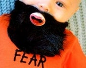 Black Custom Hand Painted & Hand Cut Beard Pacifier by PiquantDesigns