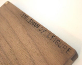personalized text. on wood business card or credit card holder. slim.