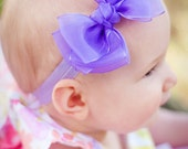 Set of 4 Sheer Double Layer Boutique Baby Headband Bow  ANY color YOU choose