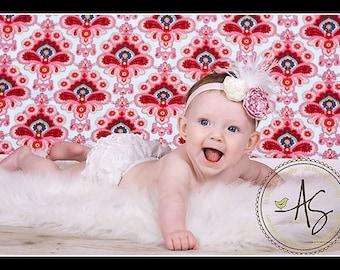 Beautiful Vintage Inspired Flower Headband - Newborn /  Baby Girl and Toddler Headband - Great Photo Prop