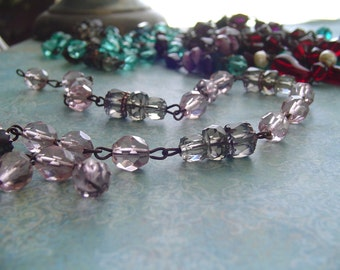 Sparkling PaLe Amethyst Light Smoky Quartz Faceted glass Beaded Chain Aged Dark Patina wire links Czech Glass beads