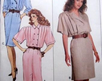Butterick 6196 Women's 80s Front Pleats Dress Sewing Pattern Bust 31 to 34