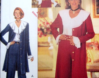 Butterick 3206 Women's 90s Duster Blouse Pants Sewing Pattern Bust 34 to 38