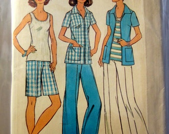 Simplicity 6984 Misses' 70s Plus Size Shirt, Pants, Shorts and Jacket Sewing Pattern Size 22 1/2 and 24 1/2 Bust 45 47