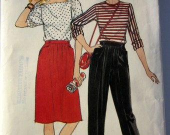 Butterick 4746 Misses 80s A Line Skirt and Pull On Pants Sewing Pattern Size 8, Waist 24 Hip 33 1/2