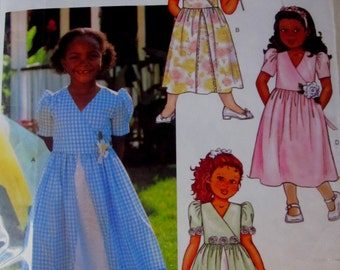 Butterick 3411 Girls A-Line Mock Wrap Dress and Slip Sewing Pattern Size 2 to 5 Breast 21 to 24