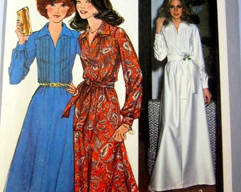 Simplicity 8249 Women's 70s Long Sleeve Collar Dress Sewing Pattern Size 12 Bust 34