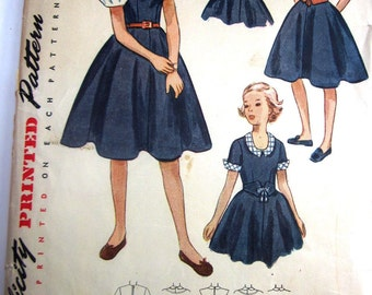 Simplicity 3466 Girls 50s Party Dress and Vestee Sewing Pattern Size 7 Breast 25