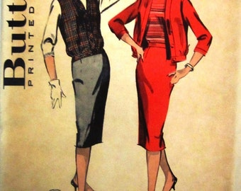 Butterick 8664 Womens 50s Slim Sheath Skirt and Blouson Jerkin Sewing Pattern Bust 32