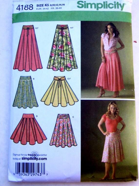 Simplicity 4188 Eight Gore Skirt Belt Pattern