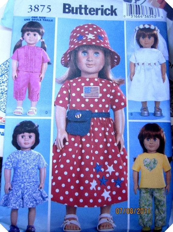 Butterick 3875 18 Inch Doll Clothes Craft Sewing Pattern