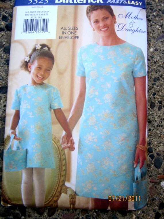Butterick 5323 Womens 90s Semi Fitted A Line Dress Purse Sewing Pattern Bust 30 to 40