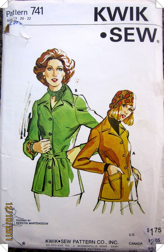 KWIK 741 Misses' 80s Duster Jacket Sewing Pattern Bust 41 to 45