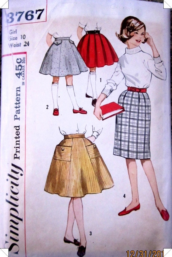 Simplicity 3767 Girls Full or Pencil Skirt Pattern 1950s