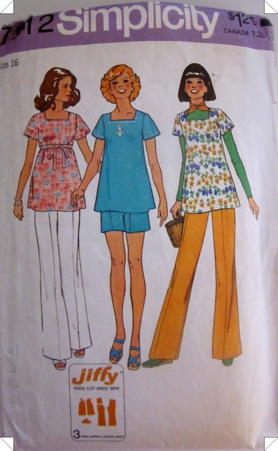 Simplicity 7512 Women Maternity Top Pants 1970s Pattern
