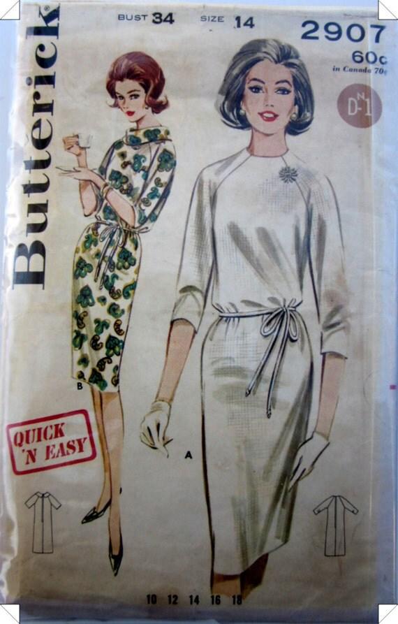 Butterick 2907 Womens Dress  1950s Vintage Pattern