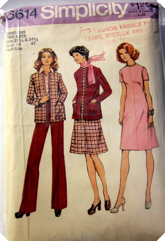 Simplicity 6614 Womens 60s Cardigan Dress Pants Sewing Pattern Bust 45 47