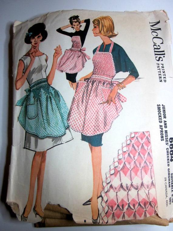 McCalls 6664 Vintage Smocked Apron 1960s Vintage Pattern