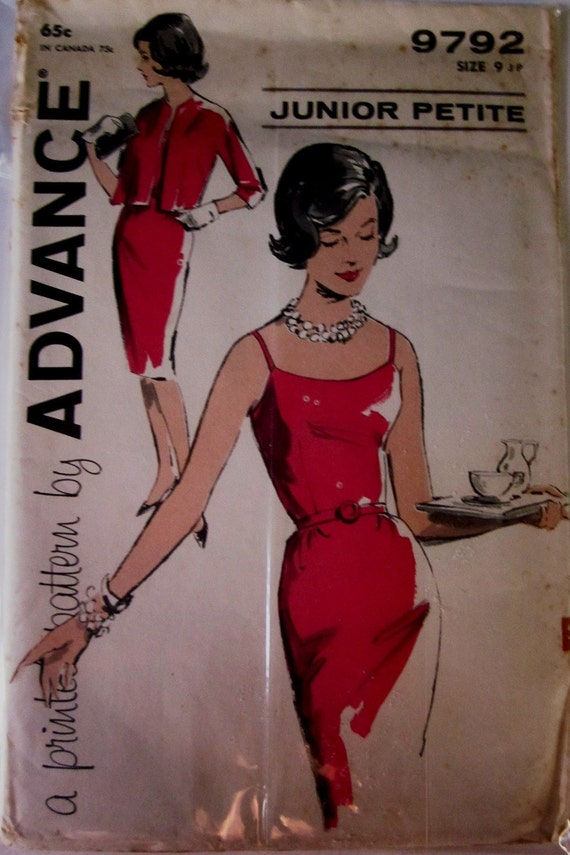 Advance 9792 Dress Jacket Sewing Pattern 1960s Vintage