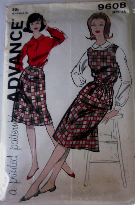 Advance 9608 Womens 60s Blouse Skirt Sewing Pattern Bust 36