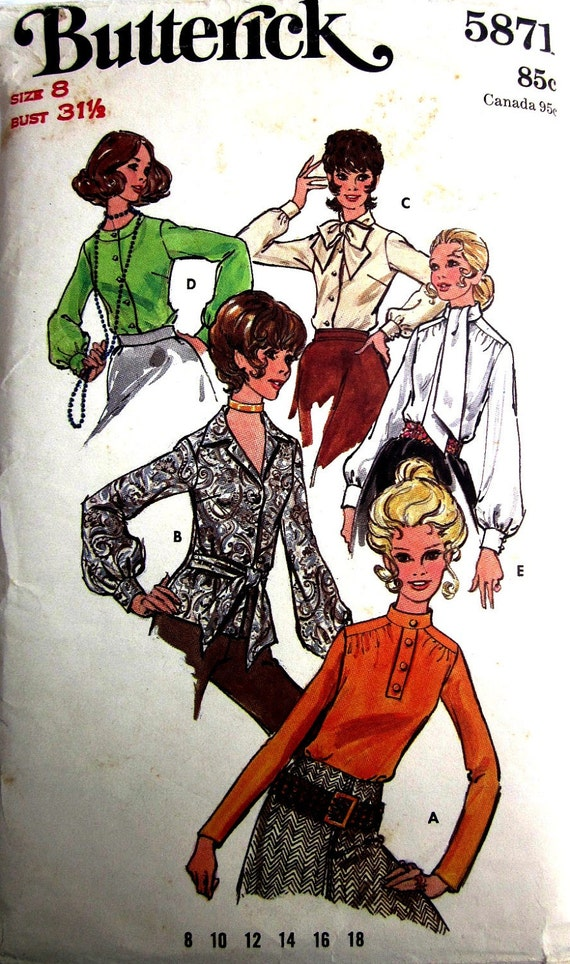 Butterick 5871 Womens 70s Ascot Tie Blouse Sewing Pattern Bust 31