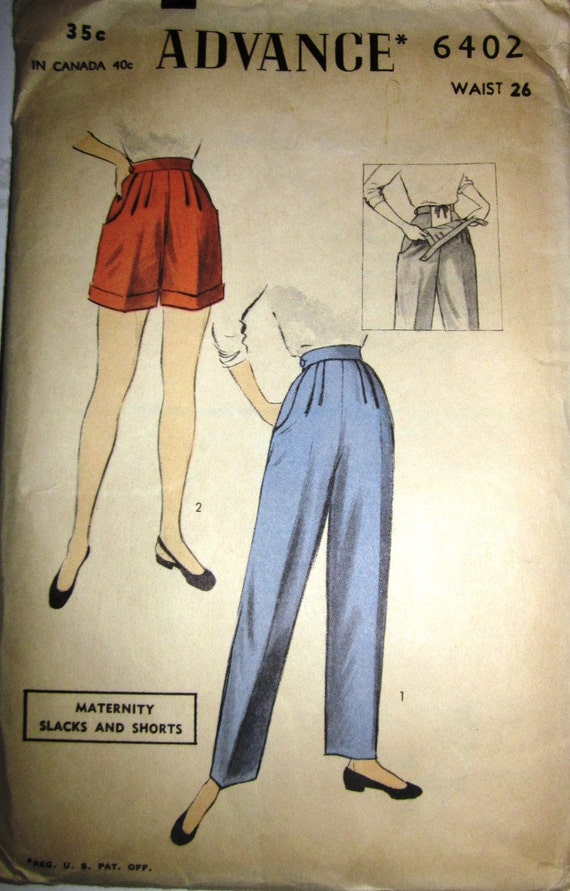 Vintage 1950s Advance 6402 Maternity Pants Shorts Pattern