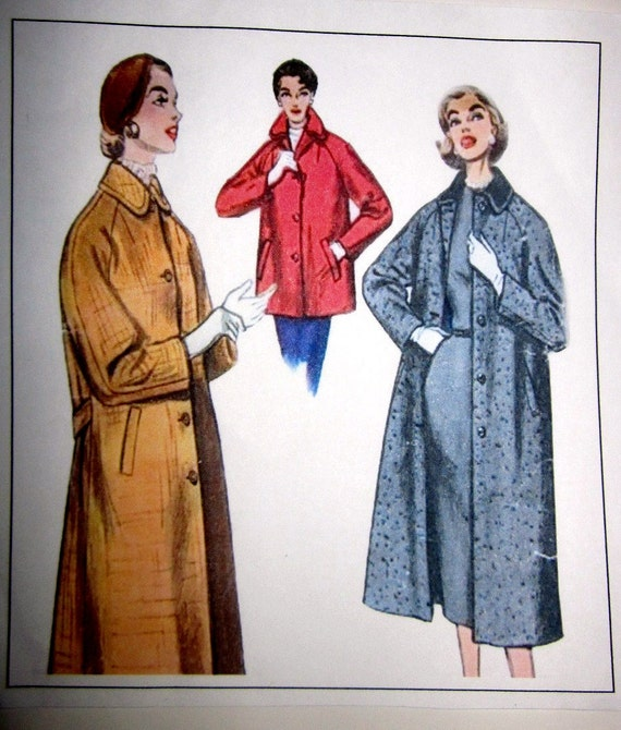 Simplicity 1286 Womens Coat Sewing Pattern 1950s