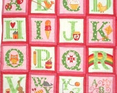 Pink Alphabet Quilted Wall Hanging ABC playmat Quilt