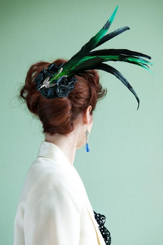 Black Green Bird of Paradise fascinator hat wedding races gothic