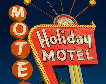 Las Vegas Holiday Motel - Neon Sign - Graphic Googie Art - Mid Century Modern Home Decor - Orange and Blue - Fine Art Photography